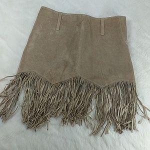 Bebe genuine Suede Leather mini skirt w fringe hem